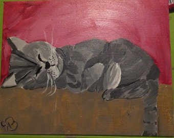Sleeping Cat Painting