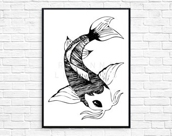 Unique Koi Fish Art Related Items Etsy