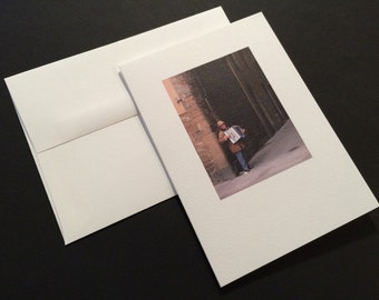 Accordion Player. Blank Greeting Card. Note Card. Photo Card.