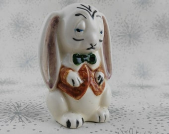Sad Rabbit in Waistcoat - Rabbit Ornament - Gift Rabbit Lover - Steampunk Rabbit - Kitsch Rabbit  - Gift for Her