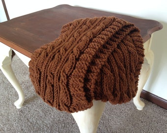 Handmade Cable-Knitted Wool Scarf in Mahogany Brown