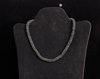 1920's gunmetal grey beaded choker
