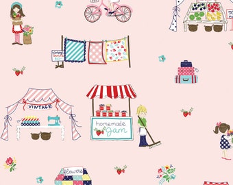 Vintage Market Main Pink by Riley Blake Designs - Farmers Market Fruit Stand - Quilting Cotton Fabric - by the yard fat quarter half
