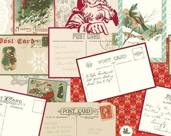 Postcards for Santa Main Red by Riley Blake Designs - Christmas Holiday - Quilting Cotton Fabric - by the yard fat quarter half