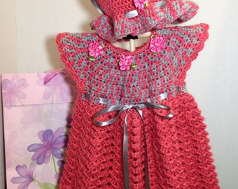 Crochet Baby dress,hat and booties
