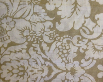 Cream Flowers on Tan Background, 100% Cotton
