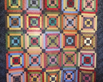 Autumn Quilt, Log Cabin Quilt, Country Quilt, Handmade Traditional Quilt, Patchwork Quilt, Queen Size Quilt