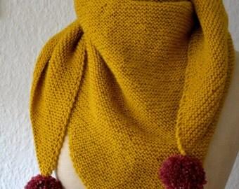 Mustard-yellow shawl knit hand