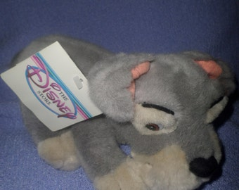 """Scamp plush Pup lying pose Metal scamp pet tag Disney Store   7.5"""" NWTS gray"""