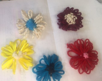 Yarn flower bow loom knitted accessories yarn daisies loom flowers flower bow flower embelishments flower applique