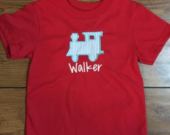 Applique Train Shirt -- personalized with name