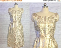 ON SALE Gold & Silver Brocade Damask Dress | vintage 1960s dress | 60s Special Occasion