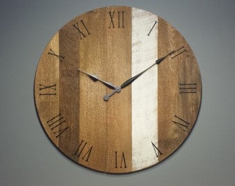 """30"""" Large wooden wall clock with white stripe."""