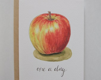 One A Day: A2 Apple Note card - Watercolor and Hand Lettered Illustration - Get Well Card - Teacher gift - Doctor gift - Apple Still Life