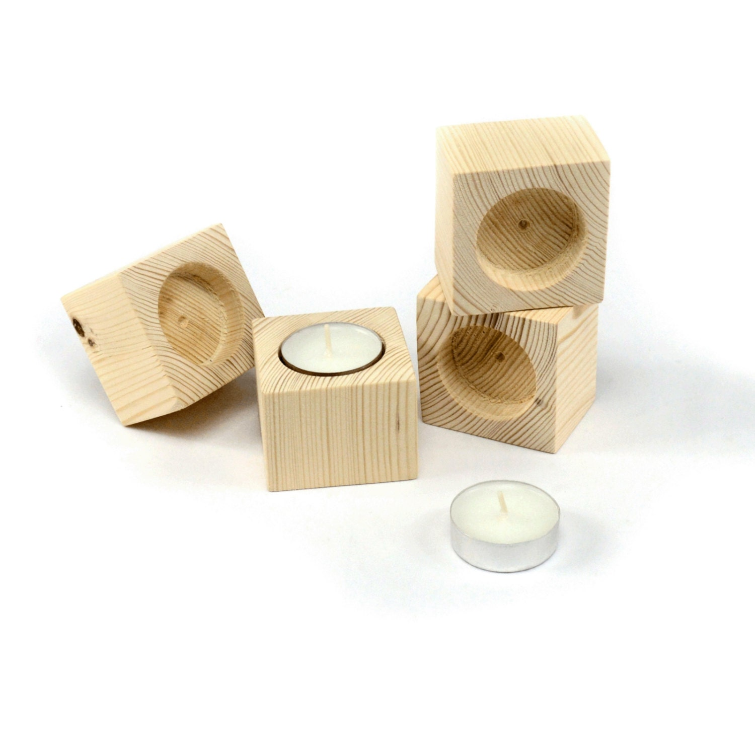 Set Of 4 Wooden Tea Light Candle Holders Rustic Wedding Decor