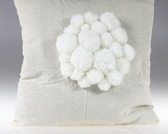Pom Pom Bed Throw - Sofa Pillow - Pillow Cover - Pompom Bedding - Pompon Cushion - Body Pillow - Pom Pom Throw - Pillow with Pom Pom - Bed