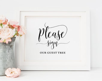 Please Sign Our Guest Tree Signs, Wedding Guest Tree Sign, Printable Guest Tree Sign, Wedding signs, Wedding table decor, wedding decor