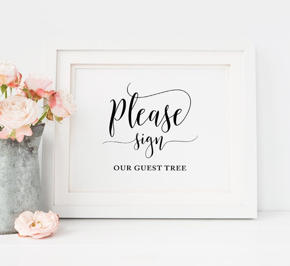 please sign our guest tree signs wedding guest tree sign