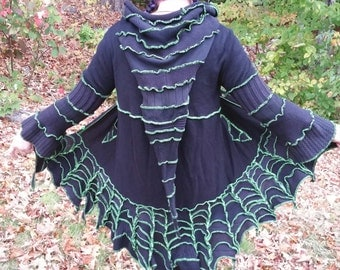 Custom Upcycled, recycled, sweater coat, spiderweb, gothic, rave, psytrance, black light reactive, pixie, witch