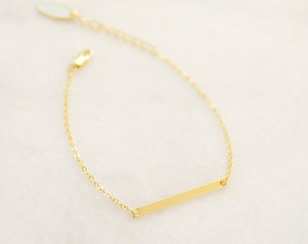 Gold Bar Bracelet - Stacking bracelet - Delicate Charm necklace - Minimalist and Dainty Bracelet