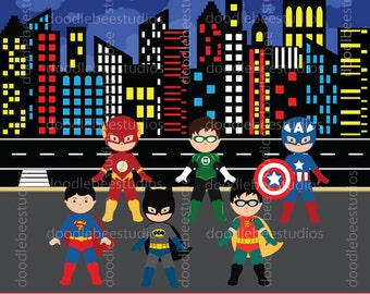 Boy Superhero Clipart, Boy Superheroes Clip Art, Superheroes Clipart, Superhero Buildings Clipart, Superhero Background, Buildings Clip Art