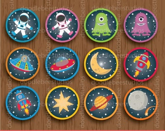 Outer Space Cupcake Toppers, Digital Astronaut Cupcake Toppers, Printable Outer Space Cupcake Toppers, Instant Download Cupcake Toppers