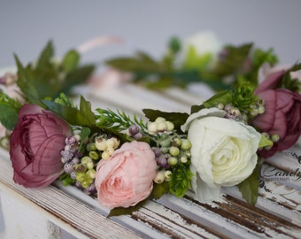 Flower crown, wreath, headband, berries, pink photo prop, bright,  bride, wedding flowers, hairpiece, headpiece,