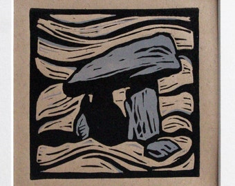 Original LIMITED EDITION Linocut Lino Print 'Carreg Coetan Natur' Neolithic Stone Burial Chamber + Mount