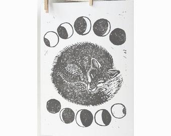 Luna Fox Hand printed Lino cut