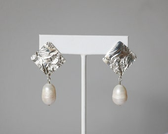 Reticulated Sterling Silver Pearl Earrings