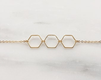 Gold Triple Hexagon Layering Necklace