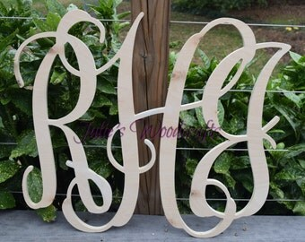 3 letter wedding monogram script wooden wall decor