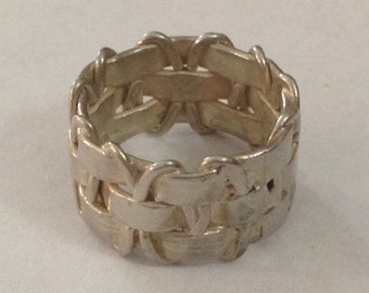 Woven sterling silver band ring size 4.25