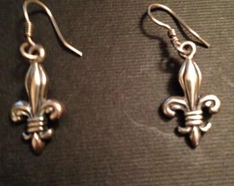 Sterling silver Fleur de lis earrings
