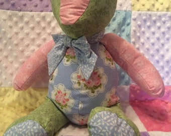 Handmade Fabric Teddy Bear / Vintage look Teddy Bear