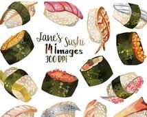 50% OFF Watercolor Sushi Clipart - Seafood Graphics - Digital Download - Sushi Nigiri Fish salmon tuna Scrapbook Supplies