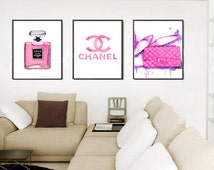 Chanel Print Fashion Print Art Set. Set of 3 Watercolor Perfume Print, bag print, Chanel symbol print, Coco perfume print Pink Art print