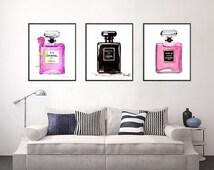 Chanel Print Set Print Art Set of 3 Watercolor Perfume Print, Noir perfume, Chanel perfume Nr 5, Coco perfume Paris print