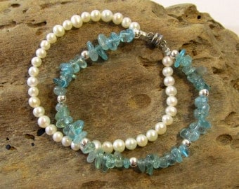 Beaded Bracelet with Magnetic Clasp; Apatite, Sterling Silver, and Freshwater Pearl Bracelet; Unique Handmade Jewelry