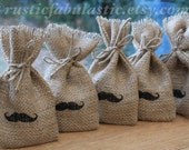 "Small Rustic Hessian Burlap Wedding Party Gift Favour Bags Pouches With Tiny Moustache W9 x H15cm (3.5"" x 6"")"