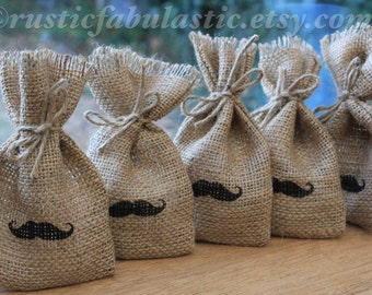 """Small Rustic Hessian Burlap Wedding Party Gift Favour Bags Pouches With Tiny Moustache 9 x 15cm (3.5"""" x 6"""")"""