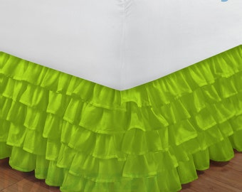 """Parrot Green Ruffle Bed Skirt with 14"""" to 30"""" Deep Length"""