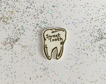 Sweet Tooth Pin [brooch lapel pin gold sweets candy]