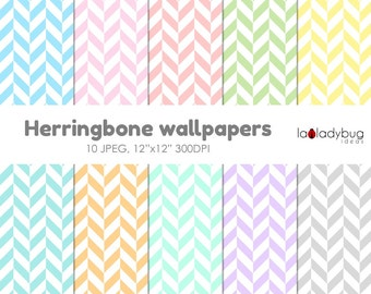 Herringbone background, herringbone wallpaper, herringbone digital paper. 10 pastel colors, JPEG files.  Instant download.