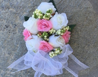 White and pink mini roses  corsage, Faux Silk Floral, Artificial Flower, Wedding Flowers