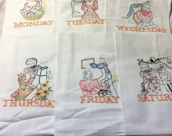 Hand Embroidered Days of the Week Tea Towels. Grandma and Grandpa doing chores
