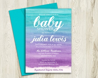 Printable Baby Shower Invitation, Ombre Turquoise and Purple Invite