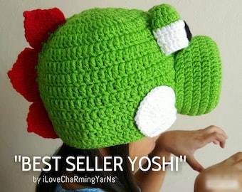 Yoshi costume nintendo dinosaur crochet hat,nintendo hats,crochet yoshi,yoshi hat,nintendo cap, crochet nintendo,crochet character hat,yoshi