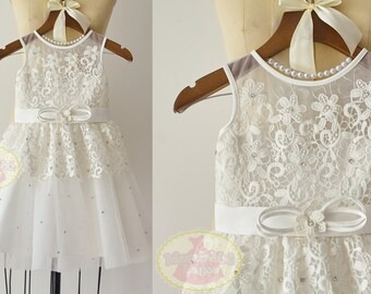 Ivory Lace Tulle Beaded Flower Girl Dress Junior Bridesmaid Wedding Party Dress  F0094