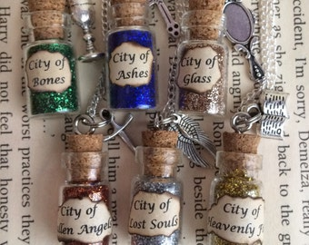 City of Bones , Ashes , Glass Bottle Necklace / Pendant / Bookmark / Earrings / Decoration / Keyring inspired by The Mortal Instruments